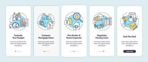 tips voor de eerste keer dat een huizenkoper wordt gebruikt voor het onboarding van het scherm van de mobiele app met concepten
