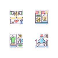 handel in RGB-kleur iconen set
