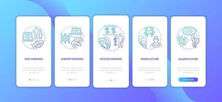 aquacultuur onboarding mobiele app-paginascherm met concepten vector