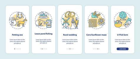 agrotoerisme onboarding mobiele app-paginascherm met concepten