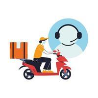 klantenservicemedewerker met koerier in masker die een levering op een fiets doet vector