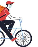 koerier met masker die een levering op een fiets doet vector