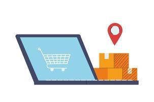 locatie van koopwaar en pakketten vectorillustratie