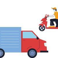 koerier met masker en transportvoertuig voor levering vector