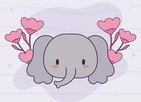 hoofd van kawaii olifant baby met bloemen