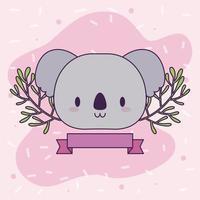 hoofd van kawaii koala met planten