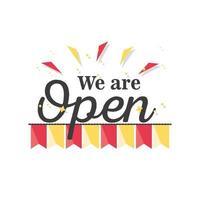 we zijn open banner en linten pictogram vector ontwerp