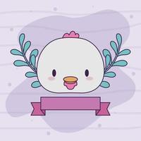 hoofd van kawaii baby kip met planten vector