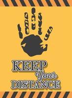 symbool van voorzichtigheid, houd afstand, banner