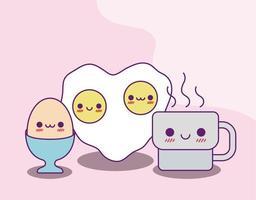 kawaii koffiemok en eieren vector ontwerp