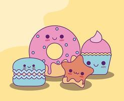 kawaii donut cookie-ster en cupcake vector ontwerp