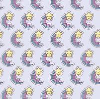 patroon met regenboog en ster, patch-stijl vector
