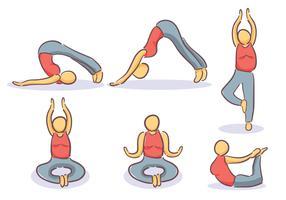 Gymnast lijn pictogrammen