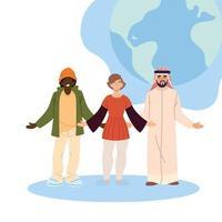 cartoon zwarte vrouw en Arabische mannen met wereld bol vector design