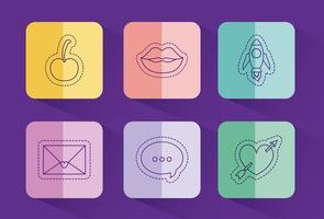 schattige liefde en levensstijl patches decorontwerp vector