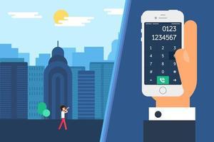 smartphone met handkiezen en persoon die in stad op telefoon loopt