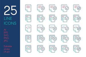 documenten en bestanden kleur lineaire iconen set vector