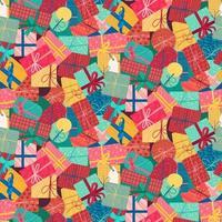 Nieuwjaar huidige vakken verticale naadloze patroon vector
