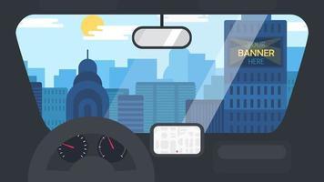 stadsleven vanuit de auto vector