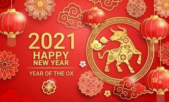 Chinees Nieuwjaar 2021 wenskaart achtergrond het jaar van de os. vector illustraties.