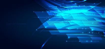 abstracte blauwe geometrische lijnen die laagbeweging op donkere achtergrond overlappen. digitale technologie futuristisch concept. vector