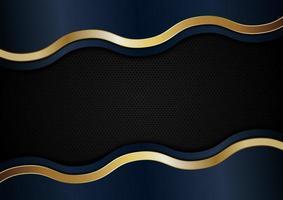 abstracte blauwe en gouden golflijnstrepen op zwarte achtergrond vector