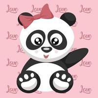 tedere teddybeer panda vrouw valentijn kaart vector