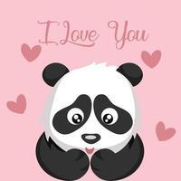 tedere pandabeer en hartenkaart voor valentijnskaart vector