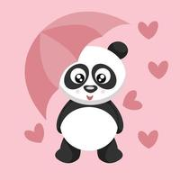 panda beer kaart met paraplu door valentijn vector
