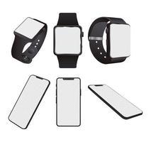bundel van smartwatches en mock-ups van smartphones vector