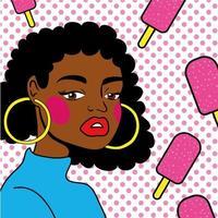 jonge afro vrouw met ijs pop-art stijl vector