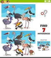 verschillen educatief spel met vogeldieren vector