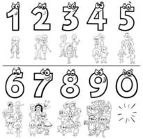 cartoon nummers instellen kleurboekpagina met kinderen vector