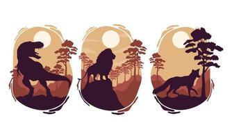 wilde dieren silhouetten scènes vector