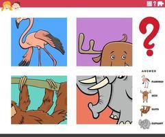 raad dierlijke karakters educatieve taak voor kinderen vector