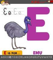 letter e werkblad met cartoon emoe vogel vector
