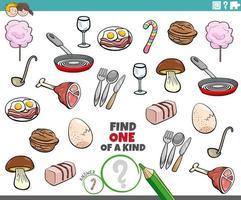 uniek spel voor kinderen met voedselvoorwerpen vector