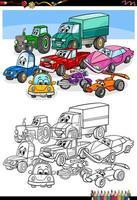 cartoon auto's en voertuigen kleurboekpagina vector