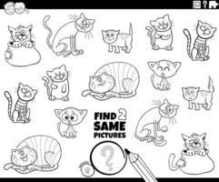 vind twee dezelfde kleurboekpagina met katten of kittens vector