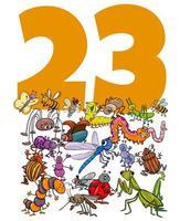 nummer drieëntwintig en cartoon insecten groep vector