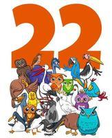 nummer tweeëntwintig en cartoon vogels groep vector