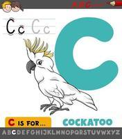 letter c werkblad met cartoon kaketoe vogel vector