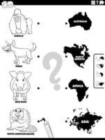 match dieren en continenten kleurenboekpagina vector