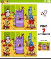 verschillen educatief spel met robotpersonages vector