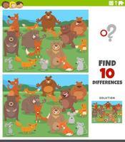 verschillen educatieve taak met cartoon wilde dieren vector