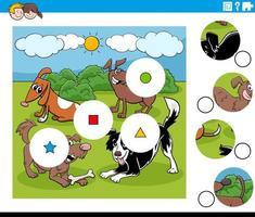 match stukjes puzzel met honden karakters