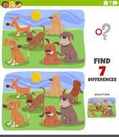 verschillen educatief spel met hondengroep vector