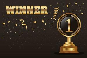 gouden winnaar viering banner met trofee