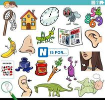 letter n woorden educatieve taak voor kinderen vector