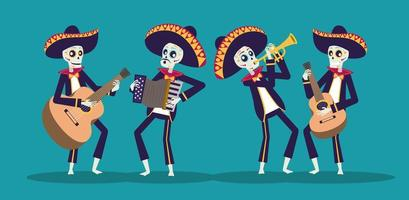 dia de los muertos-kaart met mariachis-schedels die instrumenten bespelen vector